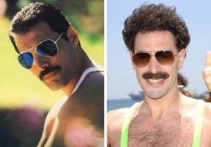 Freddy Mercury y Sacha caracterizado en Borat